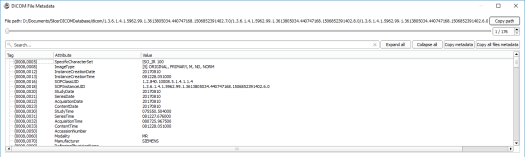 Checking DICOM metadata in 3D Slicer