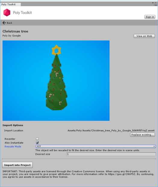 Google Poly Toolkit with a Christmas Tree model for Unity