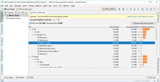 APK loaded in Android Studio, showing the ARCore libraries