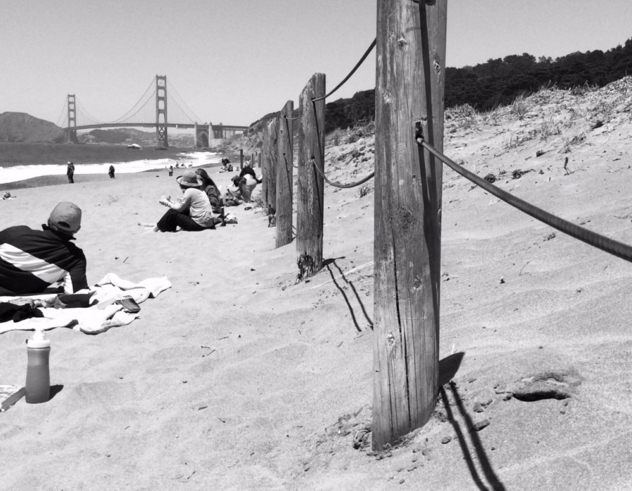 Baker Beach, San Francisco, California, black and white