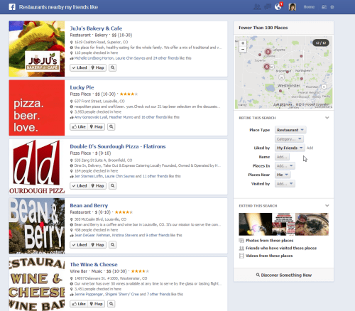 Places your friends like Facebook Graph Search