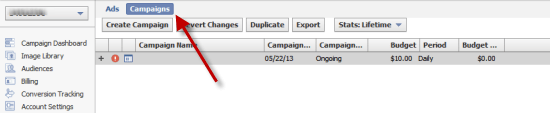 Create a new campaign in power editor