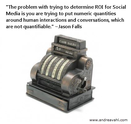 """""""The problem with trying to determine ROI for social media is you are trying to put numeric quantities around human interactions and conversations, which are not quantifiable."""" ~ Jason Falls"""