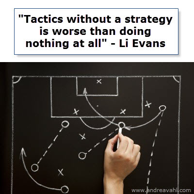 Tactics without a strategy is worse than doing nothing at all. ~ Li Evans