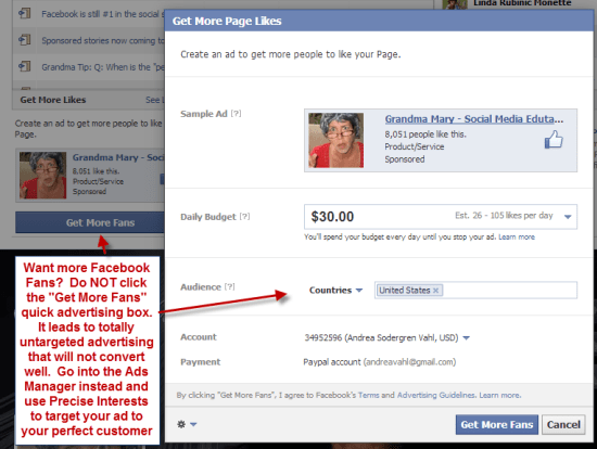 Facebook Ad to get more fans
