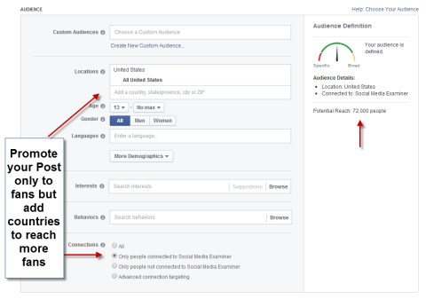 facebook Promote Post targeting