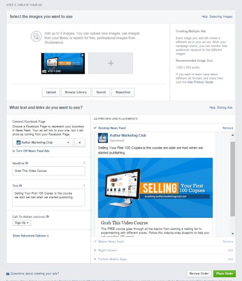 Facebook Ad design
