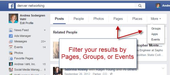 Filter Facebook results