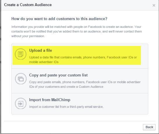 Upload customer list to Facebook