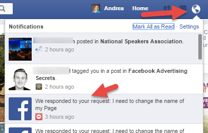 Facebook Notifications logged in as Profile