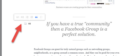 Add headings quotes lists Facebook
