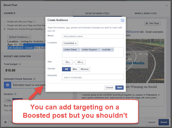 Adding Targeting on Boosted Posts