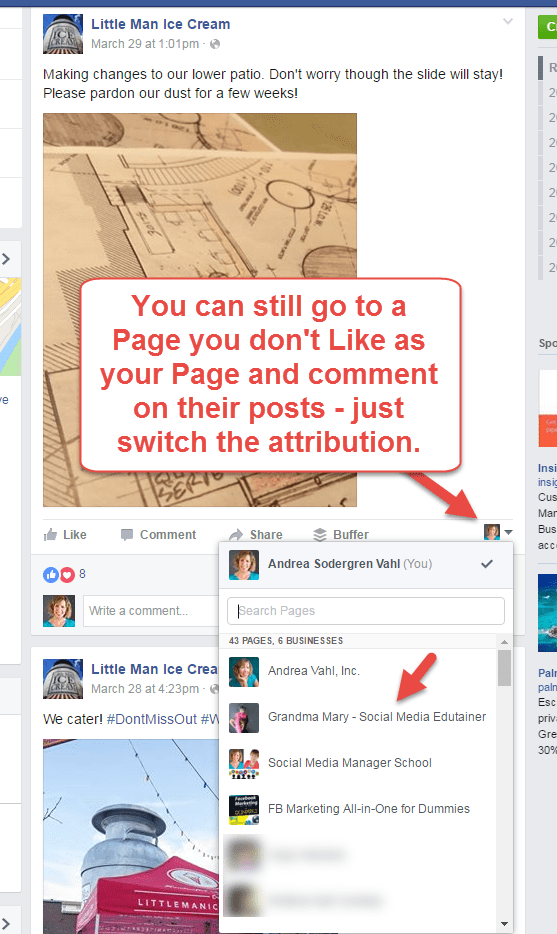 Comment on a Page as your Page