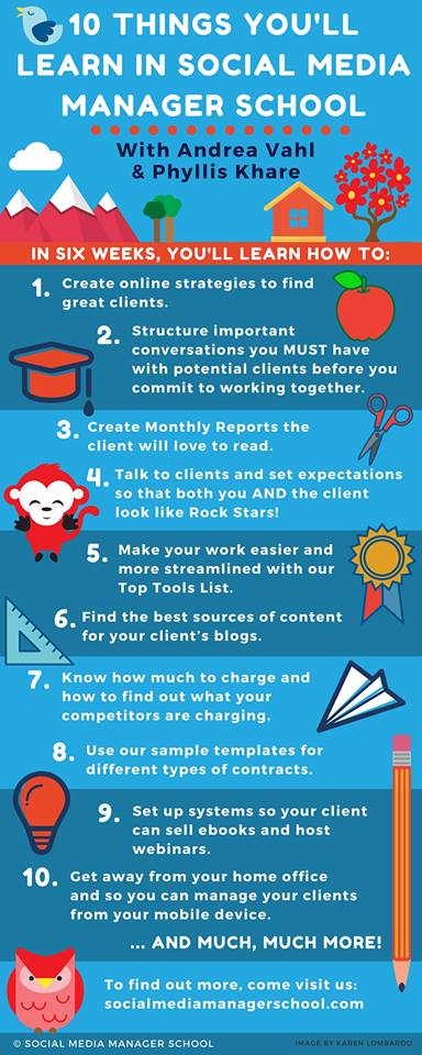 10 Things Learn in Social Media Manager School infographic