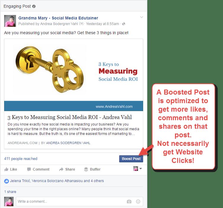 Boosting Facebook Posts