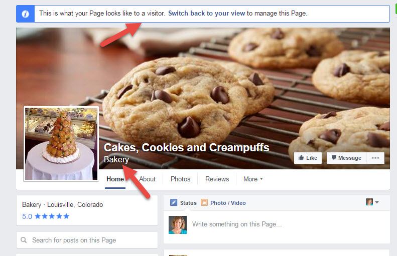 Facebook Category on Cover photo