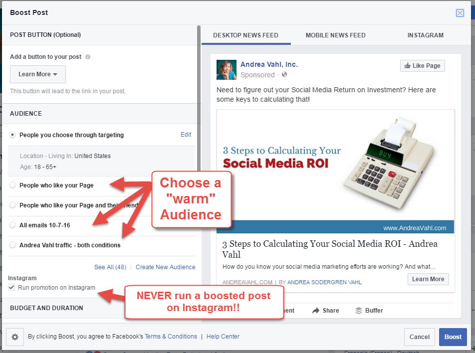 Facebook Boosted Post Dos and Donts