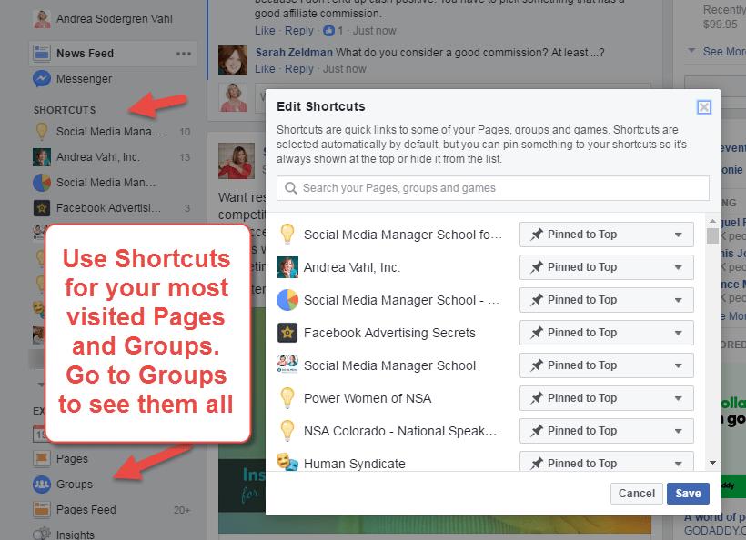 Edit Facebook Shortcuts