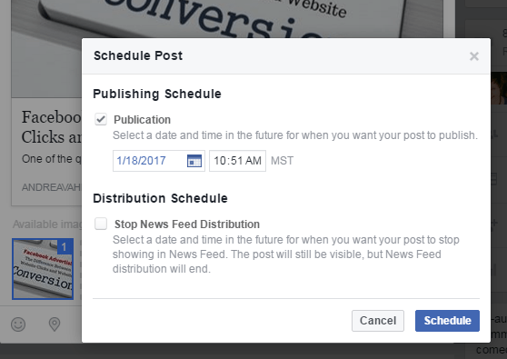Publishing Schedule Facebook