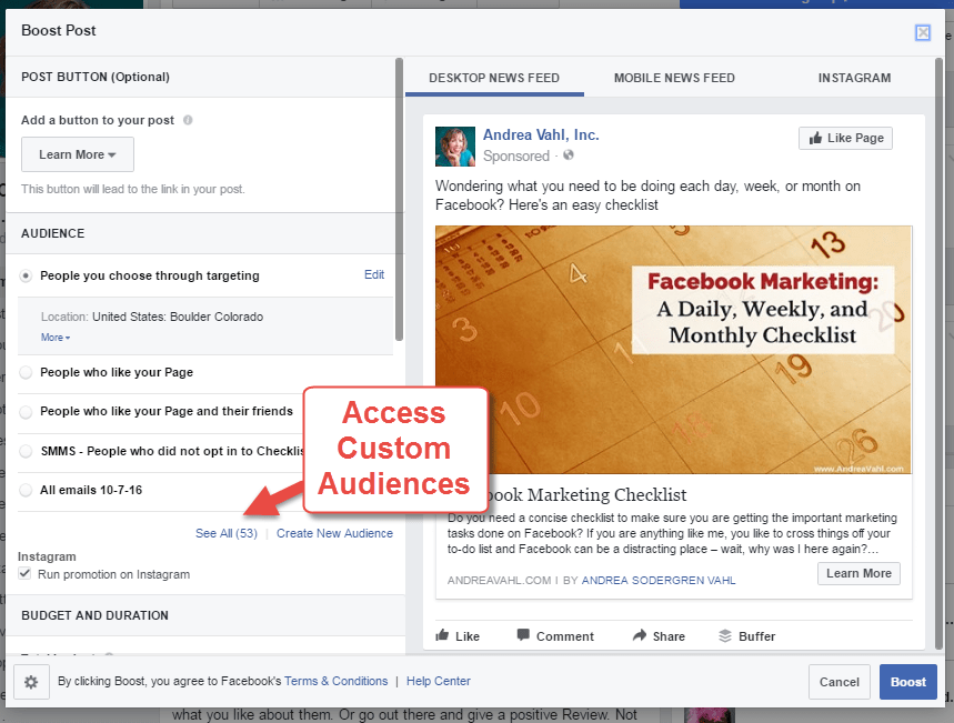 Access Custom Audiences from Facebook Boosted Post