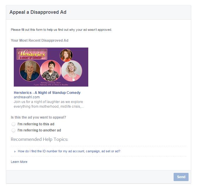 Apelar un anuncio de Facebook desaprobado