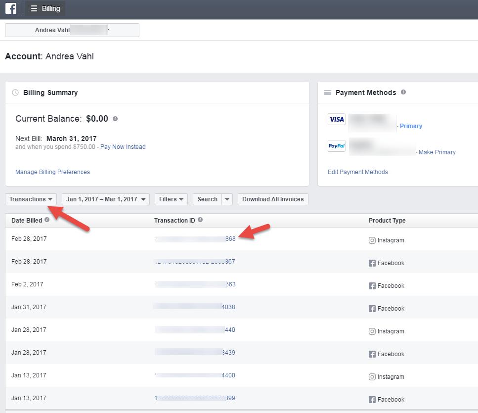 Resumen de la facturación de Facebook
