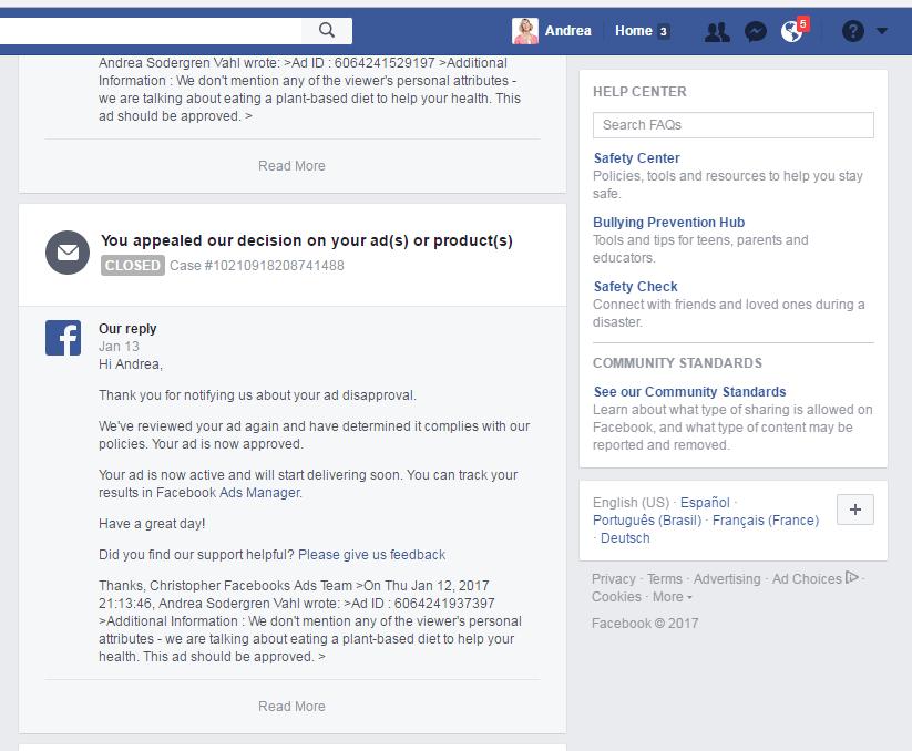 Respuestas del servicio de asistencia de Facebook