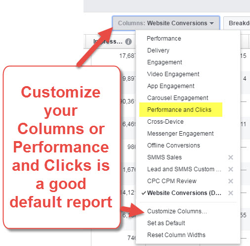 Customize Facebook Ads Report Columns