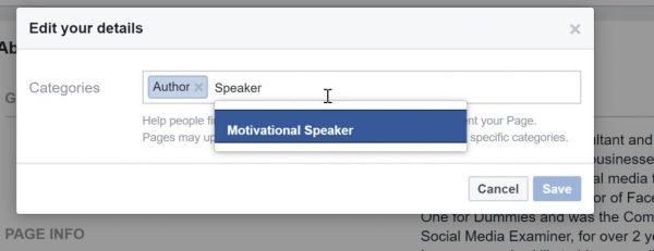 Edit Facebook Category