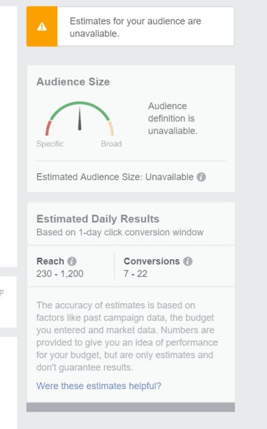 Facebook Custom Audience size