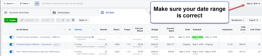 Choose the correct date range Facebook Ads