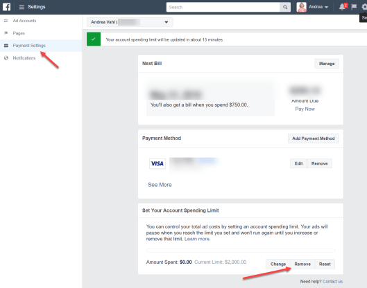 Facebook Ad account Spend Limit