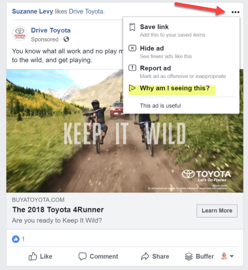 Targeting in a Facebook Ad