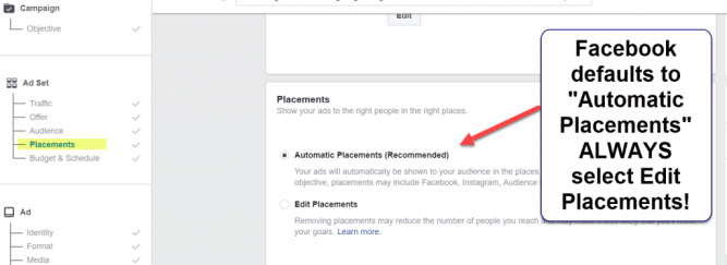 Facebook Automatic Placements