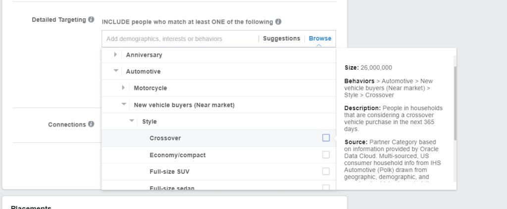 Facebook partner category keywords
