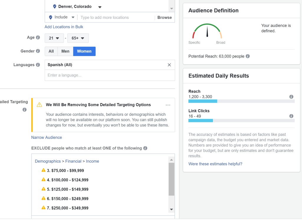 Removing Facebook Targeting