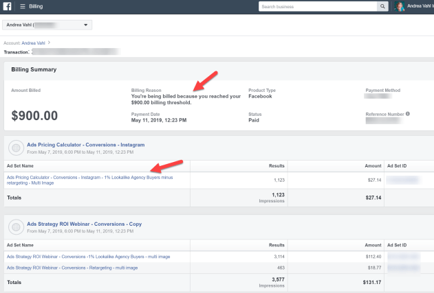 Facebook Ads Billing summary