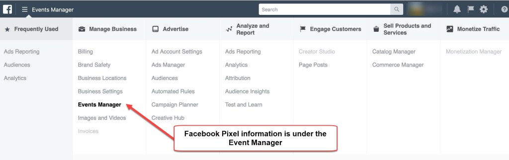 New Facebook Ads Manager menu