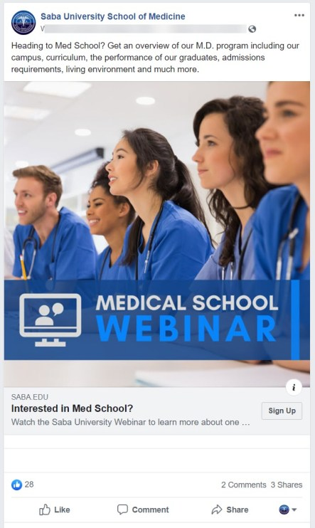 Medical school webinar ad