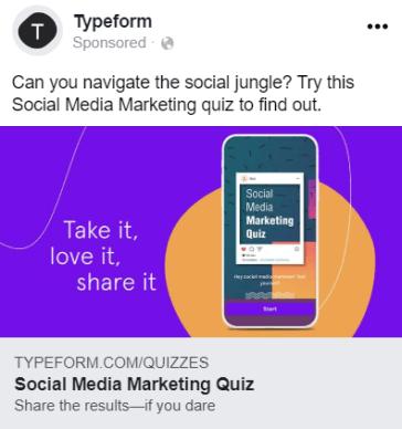 Facebook Ads Quiz Example