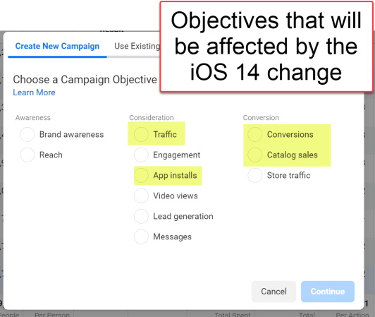 Facebook Ad objectives affected by the iOS change