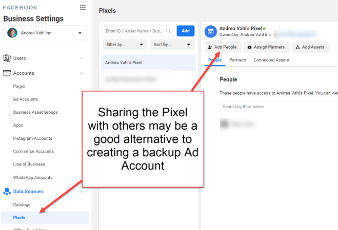 Sharing Facebook Pixel in Business Manager