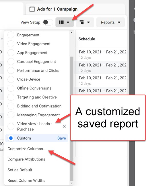 Customize Facebook Ad Reports