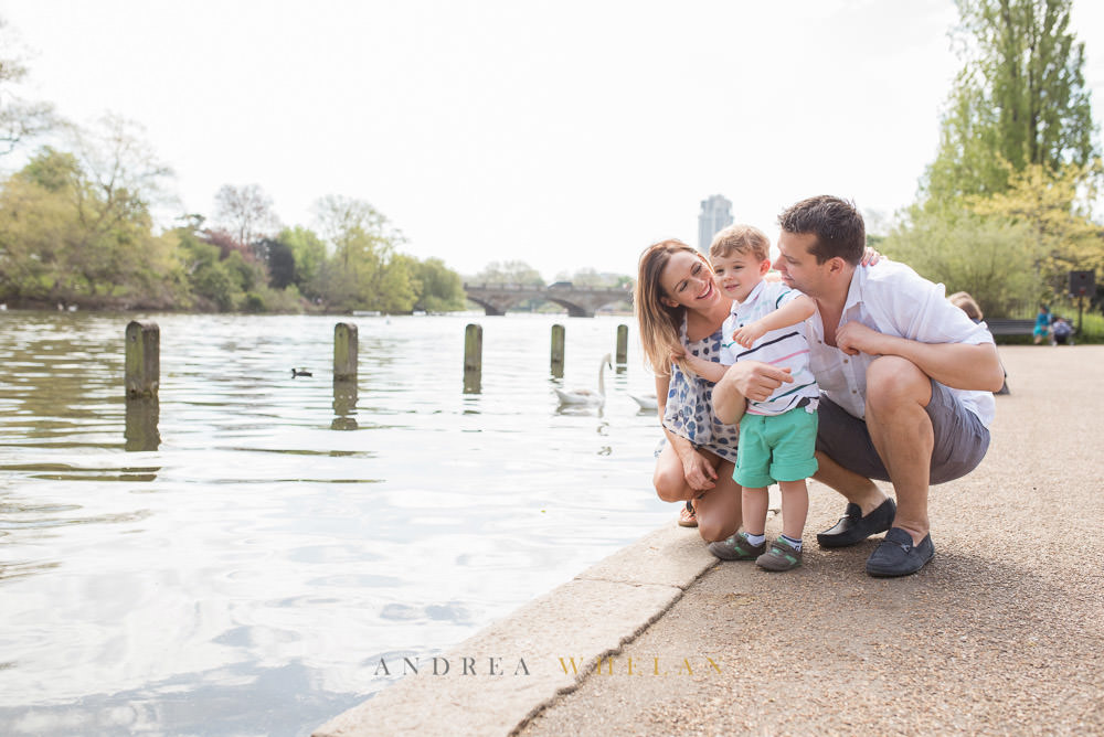 Family looking over the serpentine  Hyde Park