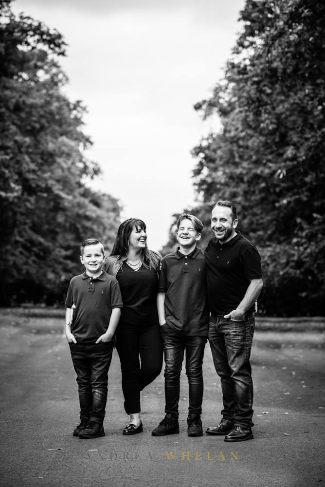 Black and white relaxed family portrait Greenwich Park