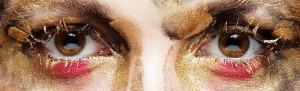 Make up in gold und pink