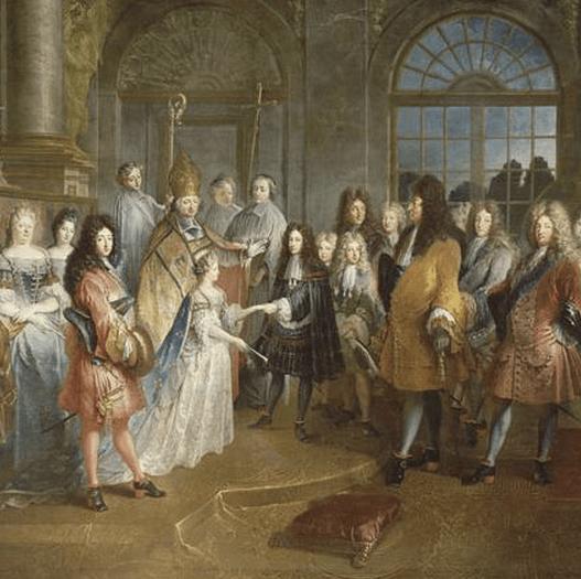 Mariage du duc de Bourgogne et Marie-Adélaïde, 1697.  7 décembre 1697, de Antoine Dieu, XVIIe siècle © RMN / Daniel Arnaudet / Gérard Blot par Versailles.