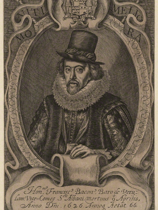 Francis Bacon, Viscount St Alban. by Simon de Passe line engraving, published 1638. © The National Portrait Gallery, London.