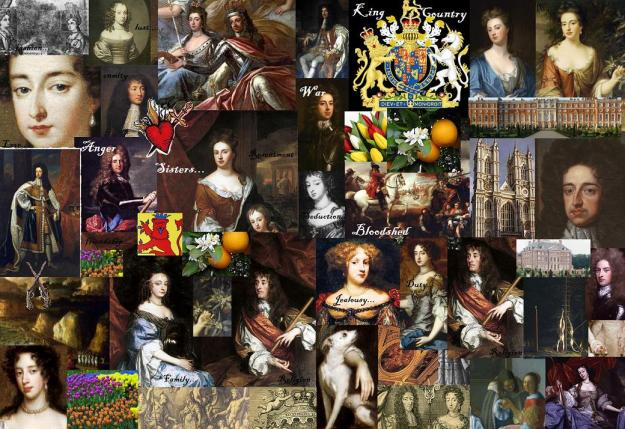 Collage of characters in William & Mary, created by Andrea Zuvich