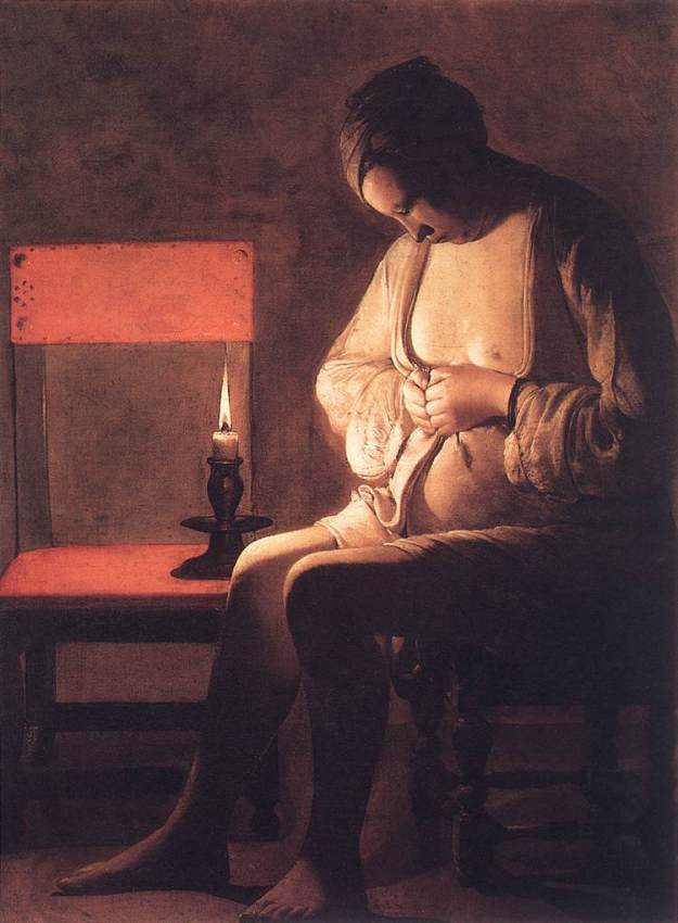 LA TOUR, Georges de Woman Catching Fleas 1630s Oil on canvas Musée Historique, Nancy Web Gallery of Art